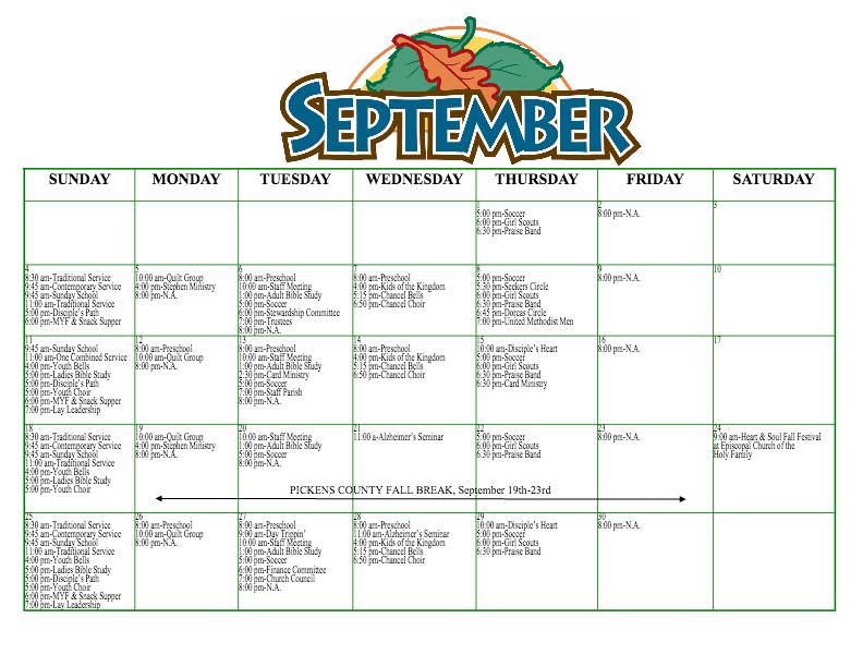 september 2016 calendar - JasperUMC